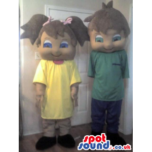 Menace Boy And Girl Couple Mascot With Yellow And Green