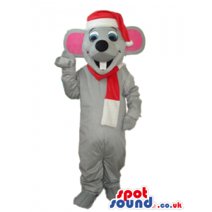 All White Bear Plush Mascot With Black Eyes And Nose - Custom