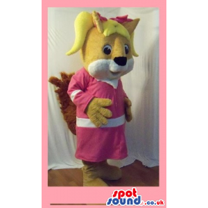 Blond Hair Brown Girl Squirrel Animal Plush Mascot With A Dress