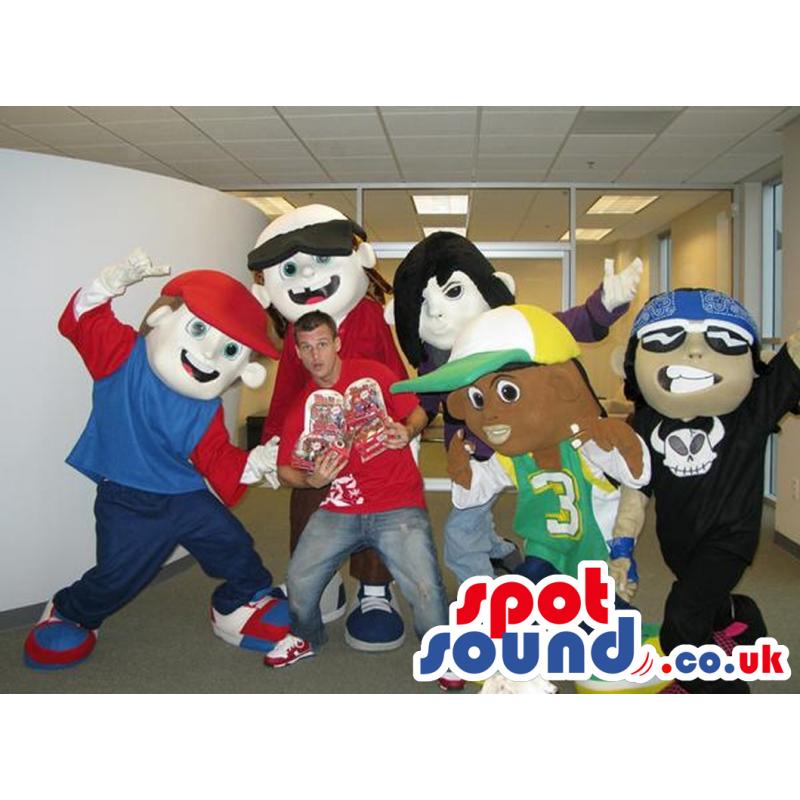 Five Street Rapper Boy Mascots In With Garments In Varied