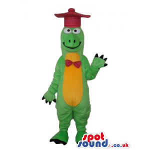 Green And Yellow Alligator Plush Mascot With Red Hat And Bow
