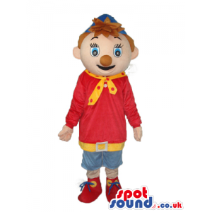 Red And Blue Clown Boy Mascot With Brown Nose And A Cap -
