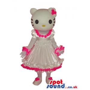 Kitty Character Plush Mascot Wearing A White And Pink Dress -
