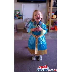 Cute Blue And Golden Princess Dress Children Size Costume -