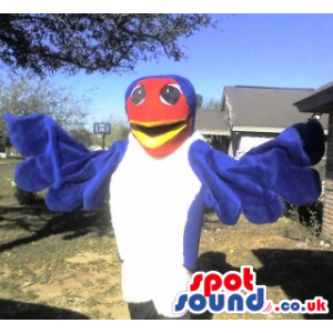 Amazing White And Blue Bird Plush Mascot With Red Face - Custom