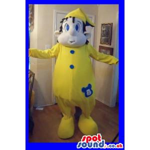 Boy Character Mascot Wearing Yellow Pajamas And Hat - Custom