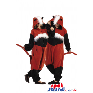 Fantastic Two Red And Black Fox Adult Costumes With Hairy Head