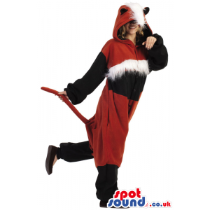 Fantastic Red And Black Fox Adult Costume With Hairy Head -