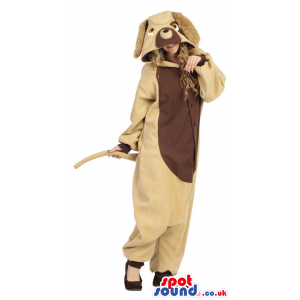 Fantastic Beige Dog Adult Costume With A Brown Belly. - Custom