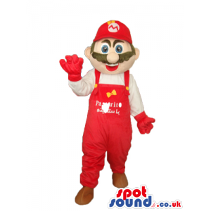 Super Mario Bros. Popular Video Game Character Mascot With Logo