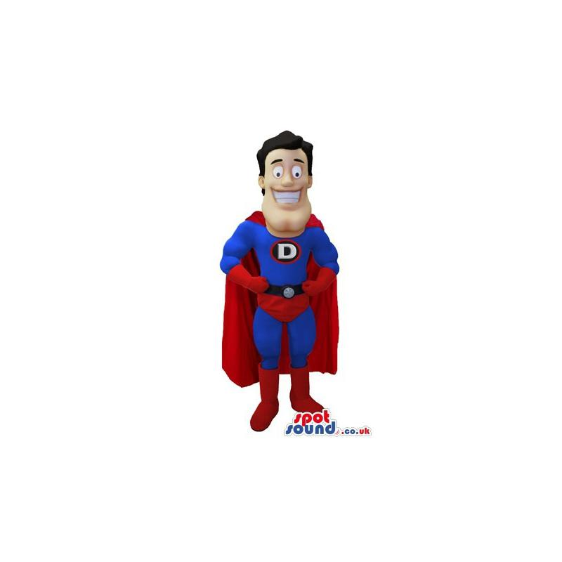 Funny Smiling Super man mascot costume - Custom Mascots