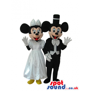 Mickey And Minnie Mouse Mascots With White Wedding Clothes -
