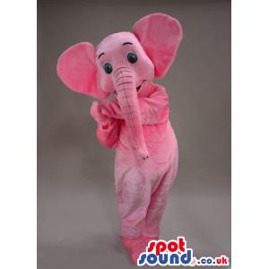 Cute Pink Elephant Animal Plush Mascot With Blue Eyes - Custom