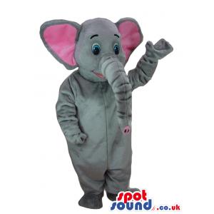 Cute Grey Elephant Animal Plush Mascot With Blue Eyes - Custom