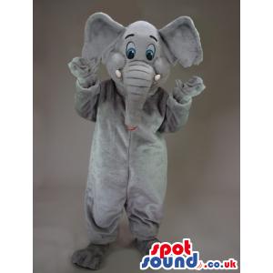 All Grey Elephant Animal Plush Mascot With Blue Eyes - Custom