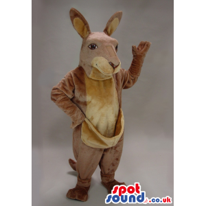 All Beige Kangaroo Plush Animal Mascot With A Pocket - Custom