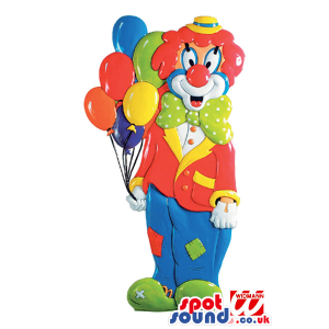 Customizable Party Decoration Clown With Balloons In Flashy