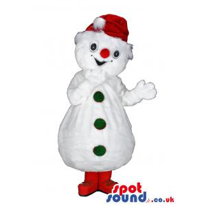 Snow man mascot with a red nose, Santa hat and red shoes -