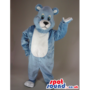 Blue And White Bear Animal Plush Mascot With Round Ears -