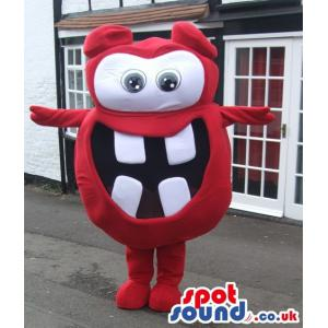 Funny little smiling red colour mascot wants to hug you -