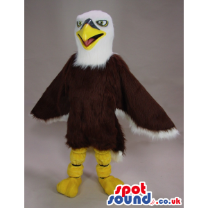 Customizable Brown And White Eagle Bird Mascot With Green Eyes