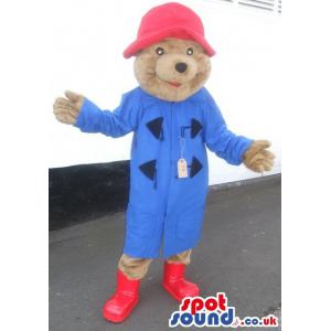 Brown Cute teddy bear with blue jacket and red hat - Custom