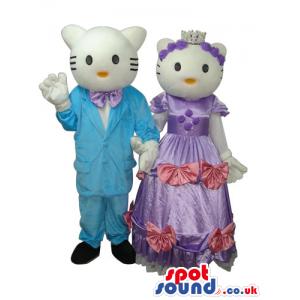 Kitty Cat Couple Plush Mascot Wearing Shinny Elegant Garments -