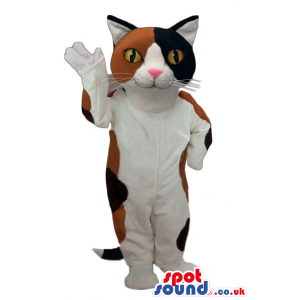 Cute White Cat Plush Mascot With Brown And Black Spots - Custom