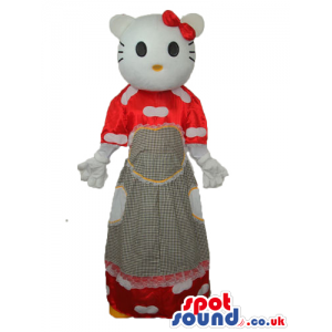Kitty Cat Popular Cartoon Mascot With A Red And Grey Long Dress