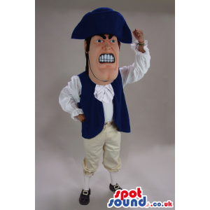 French Revolution Character Mascot With Blue And White Clothes