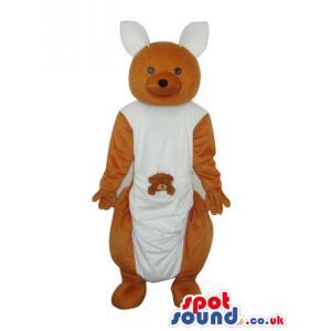 Cute Beige And White Kangaroo Plush Animal Mascot With Baby -