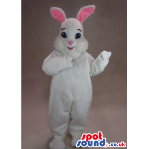 Cute White And Pink Rabbit Mascot With Pink Ears And Short Ears