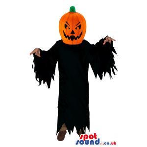 Halloween mascot with orange pumpkin face and black coat -