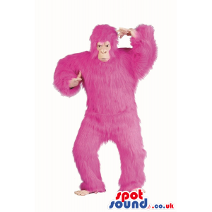Flashy Pink Hairy Gorilla Plush Mascot Or Disguise - Custom