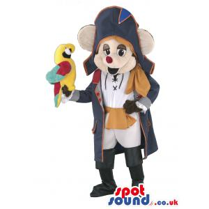 Magician rat mascot in blue cloak and a parrot in his hand -