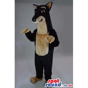Customizable Big Black And Beige Dog Plush Mascot With Long