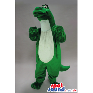 Green Alligator Plush Mascot With A White Belly And Long Neck -