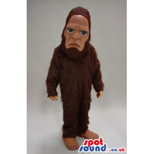 All Brown Chimpanzee Plush Mascot With A Almost Human Face! -