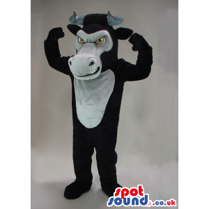 Black Bull Animal Plush Mascot With A Grey Belly And Big Mouth