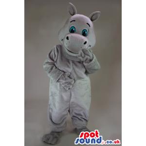 Cute Grey Hippopotamus Animal Mascot With Blue Eyes - Custom