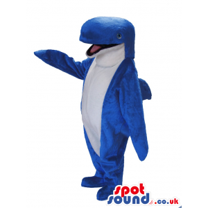 Happy Blue Whale Mascot With A White Belly And Bottled Nose -