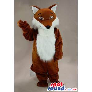 Cute Brown Fox Plush Mascot With A White Hairy Belly - Custom