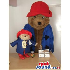 Big Brown Bear mascot with nether small teddy mascot - Custom