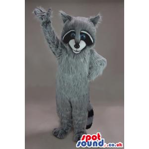 Cute Hairy Grey Raccoon Plush Mascot With Blue Eyes - Custom
