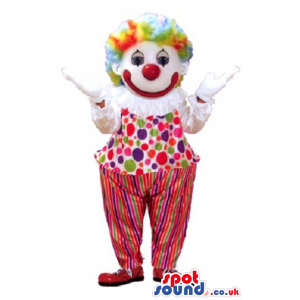 White Clown Mascot With A Colorful Wig And Clothes With Dots -