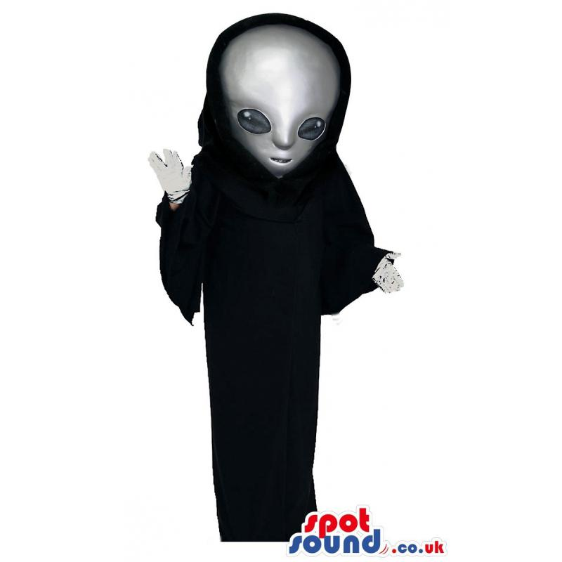 Alien mascot with a black cloth and giving a cute pose - Custom