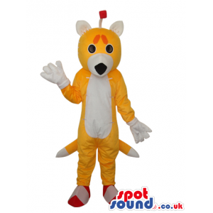 Cute Fantasy Yellow Fox Plush Mascot With A White Belly -