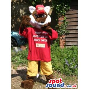 Fox bunny mascot in red t-shirt and yellow shorts and red cap -