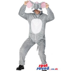 Grey And White Elephant Adult Size Costume Or Plush Mascot -