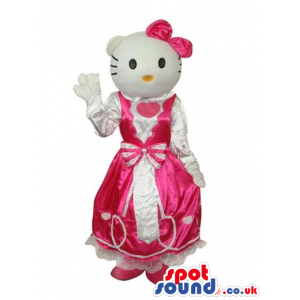 Kitty Cat Popular Cartoon Mascot With A White And Pink Dress -
